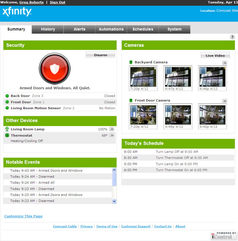 XFINITY Home Security | Features: Web Portal